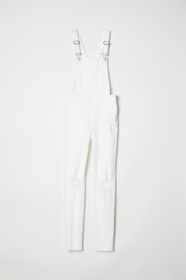Denim dungarees - White -  | H&M