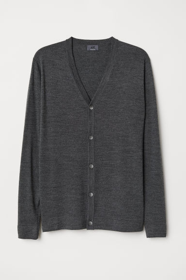Merino wool cardigan - Dark grey marl - Men | H&M