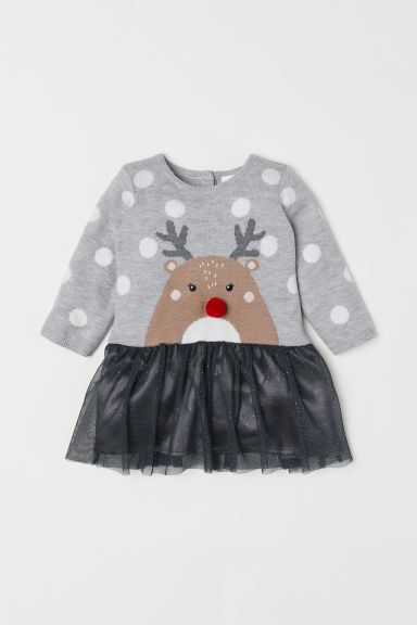 Dress with a tulle skirt - Grey marl/Rudolph - Kids | H&M