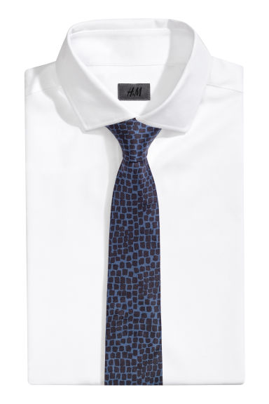 Silk tie - Black/Dark blue - Men | H&M IE