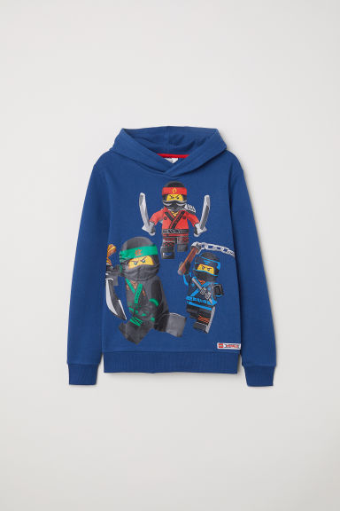 Printed hooded top - Dark blue/Ninjago -  | H&M