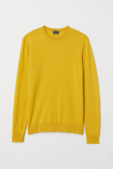 Merino wool jumper - Yellow - Men | H&M