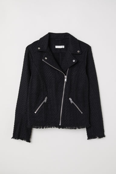Textured biker jacket - Black -  | H&M