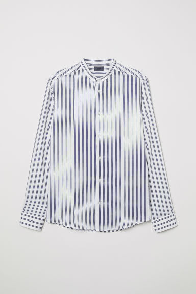 Striped grandad shirt - White/Grey striped - Men | H&M IN