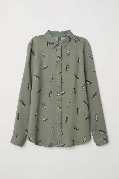 Viscose shirt - Khaki green/Feathers - Ladies | H&M