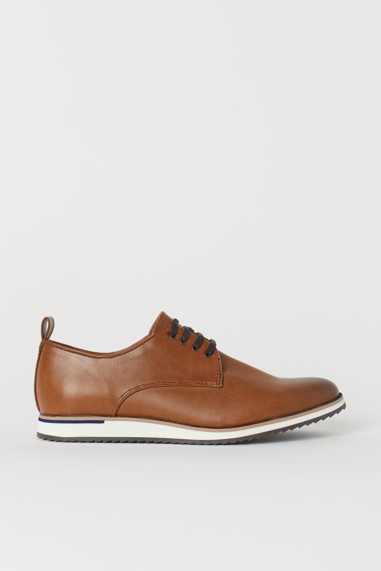 Derby shoes - Brown/Imitation leather - Men | H&M