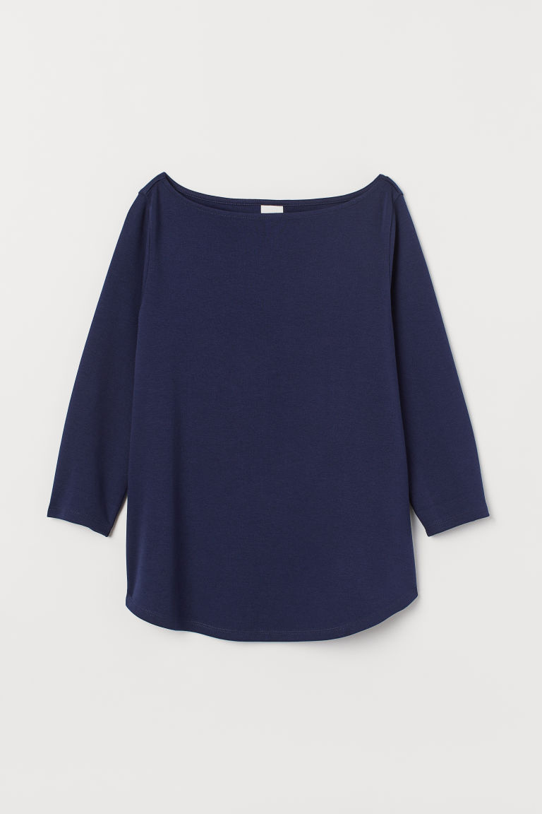 Top con scollo a barca - Blu scuro - DONNA | H&M IT
