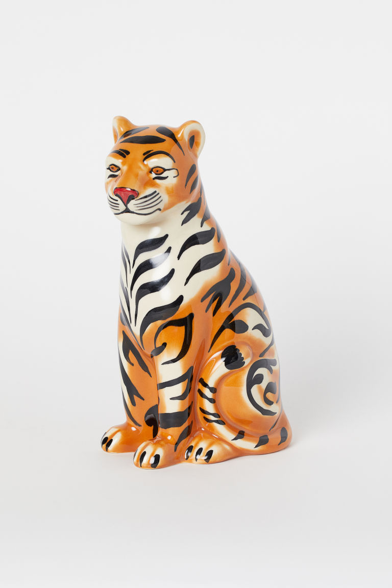 Ceramic figurine - Orange/Tiger striped - Home All | H&M GB