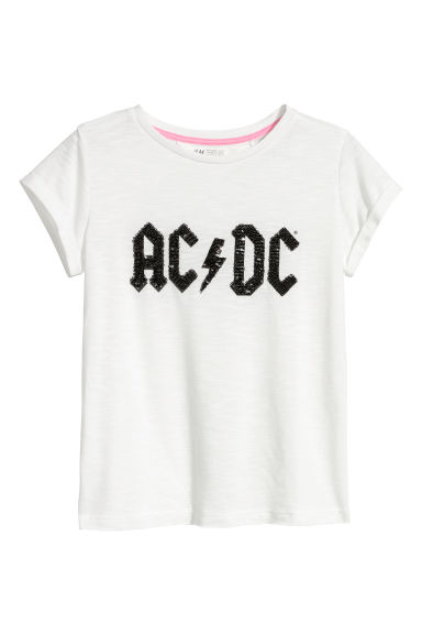 Printed jersey top - White/AC/DC -  | H&M