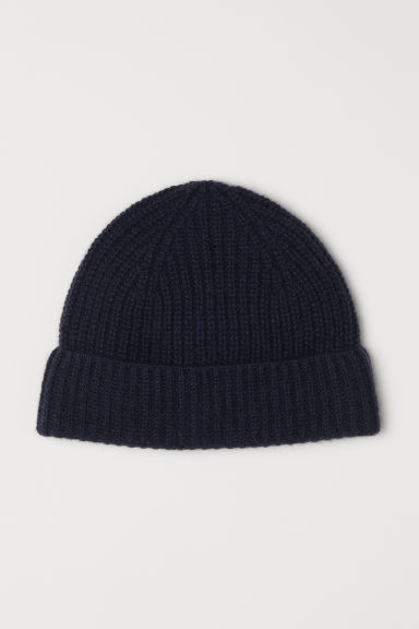 Ribbed cashmere hat - Dark blue - Men | H&M