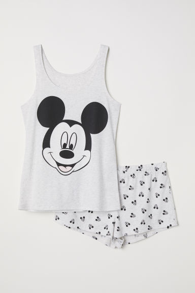 Pyjama vest top and shorts - Light grey/Mickey Mouse - Ladies | H&M CN