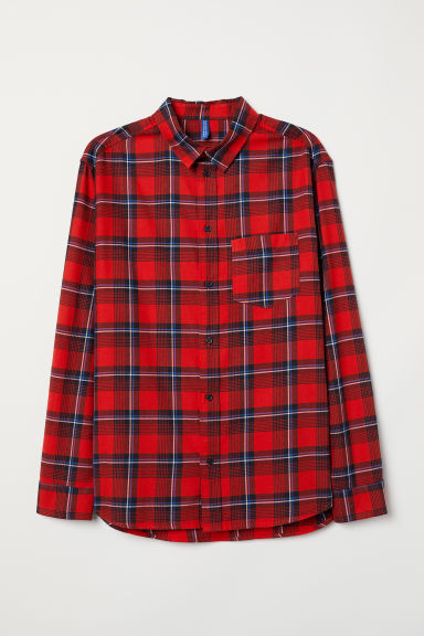 Checked cotton flannel shirt - Red/Checked - Men | H&M GB