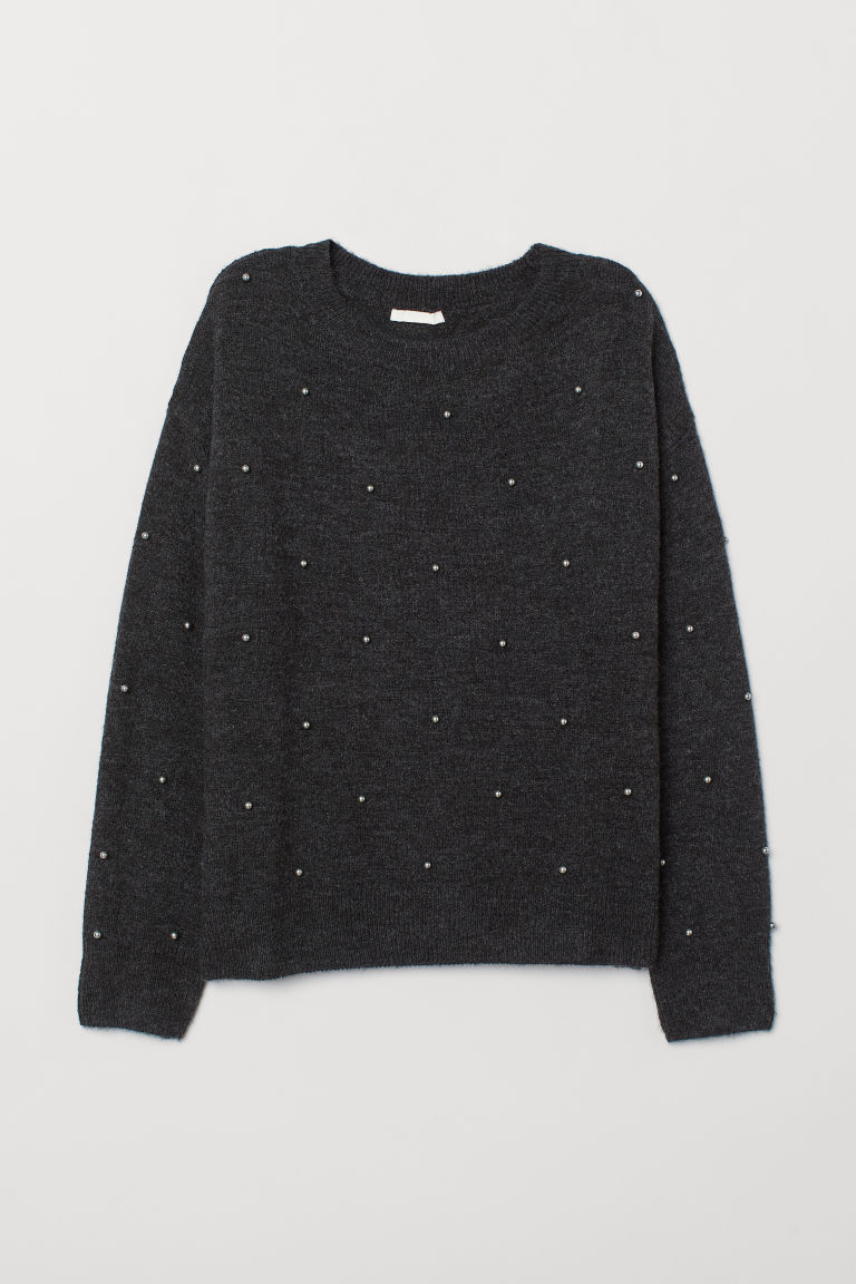 Fine-knit jumper - Dark grey - Ladies | H&M GB