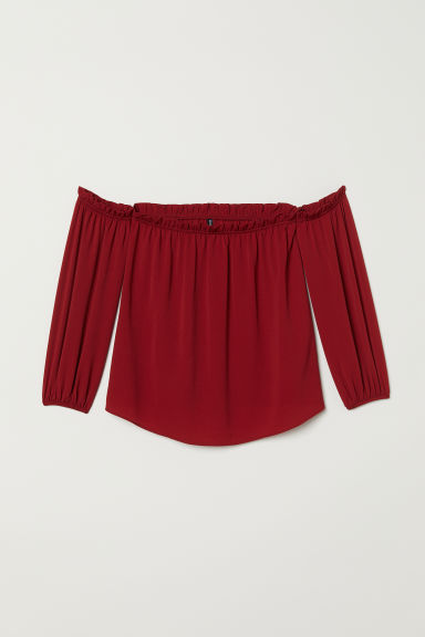 Off-the-shoulderbloes - Donkerrood - DAMES | H&M BE