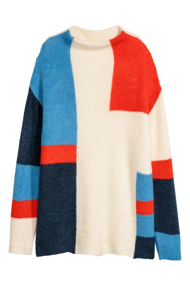 Knitted jumper - Natural white/Multicoloured - Ladies | H&M IE