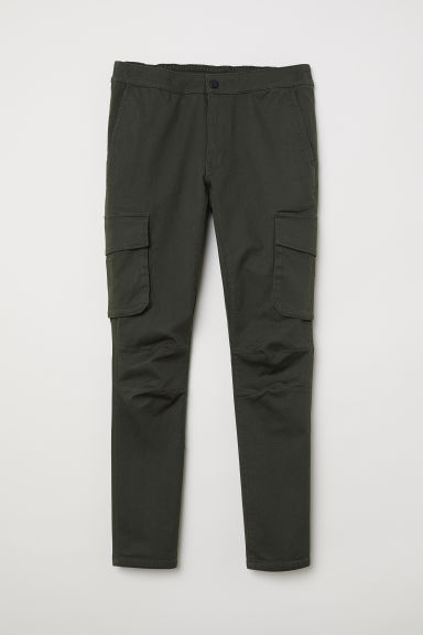 Elasticated cargo trousers - Dark khaki green -  | H&M