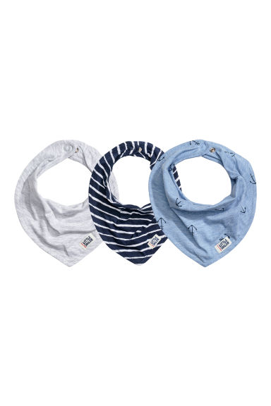 3-pack triangular scarves - Dark blue/Striped -  | H&M CN