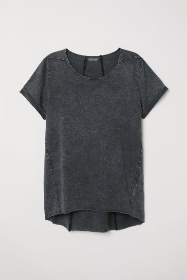 Long T-shirt - Dark grey washed out -  | H&M