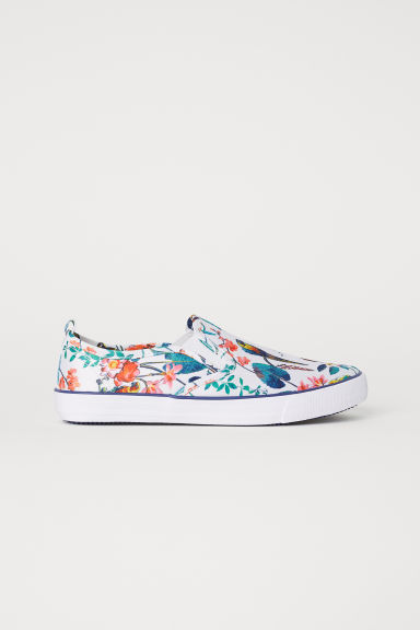 Slip-on trainers - White/Floral -  | H&M