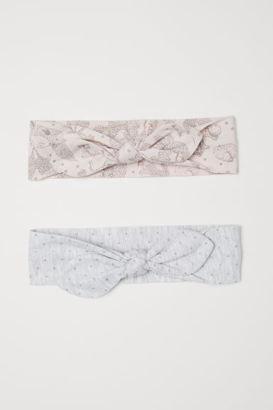 2-pack hairbands with a bow - Powder pink/Light grey - Kids | H&M CN