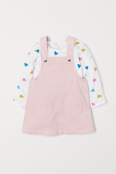 Jersey top and dungaree dress - Light pink - Kids | H&M CN