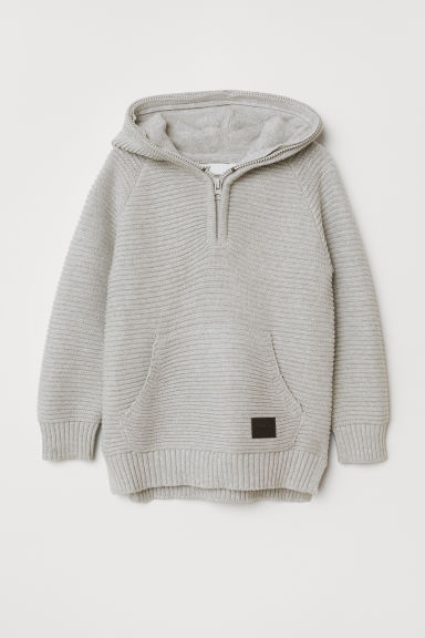Ribbed hooded jumper - Light grey - Kids | H&M CN