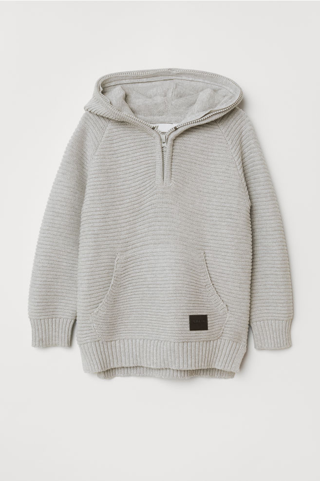 Rib-knit Hooded Sweater - Light gray - Kids  e41dab9ad