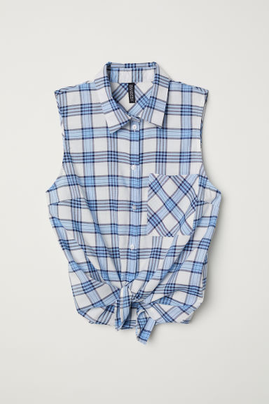 Sleeveless tie-front blouse - Light blue/Checked - Ladies | H&M CN