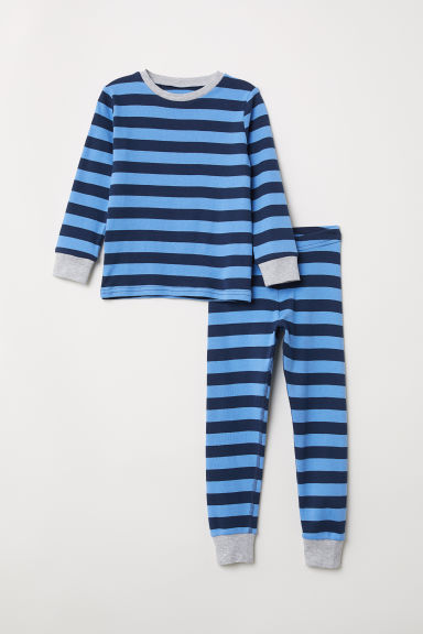 Jersey pyjamas - Blue/Dark blue striped - Kids | H&M CN