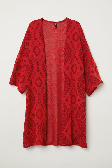 Jacquard-knit kaftan - Bright red/Patterned - Ladies | H&M CN