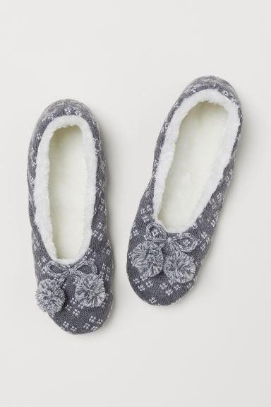 Cable-knit slippers - Grey marl/Patterned - Kids | H&M CN