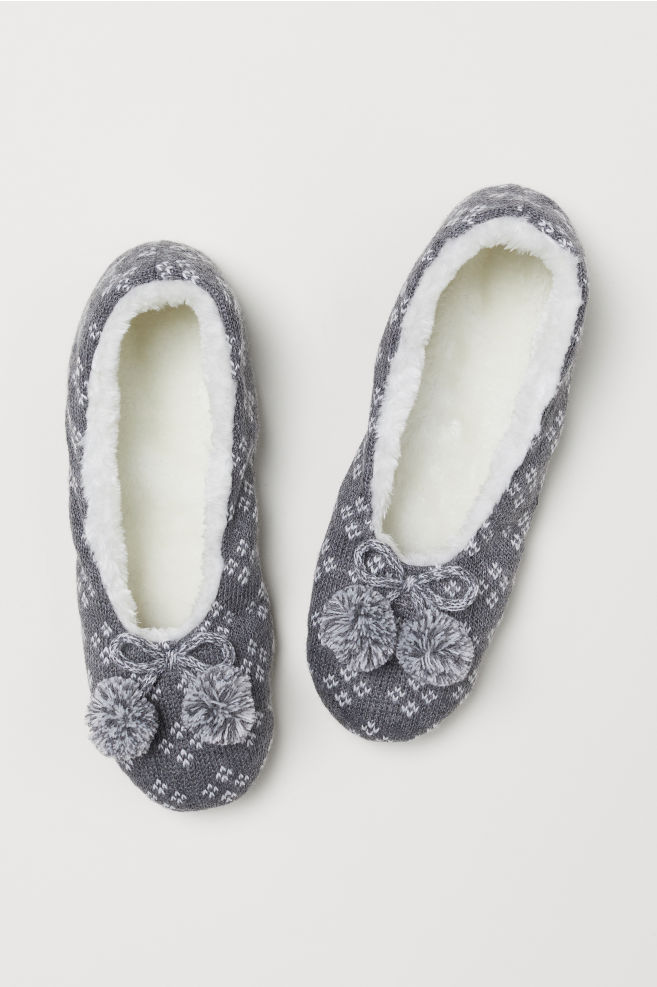 Cable Knit Slippers Grey Marlpatterned Ladies Hm