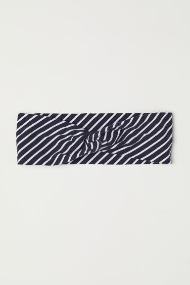 Patterned hairband - Dark blue/Striped - Ladies | H&M CN