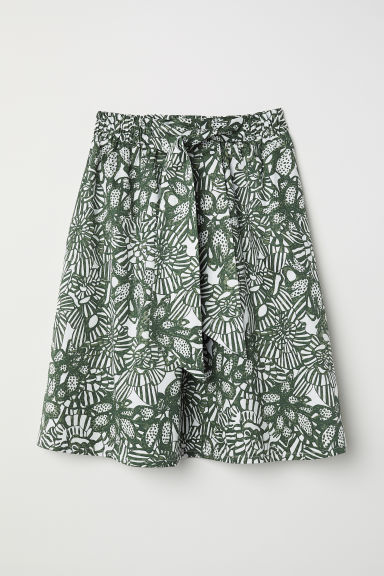 A-line skirt - White/Green patterned - Ladies | H&M