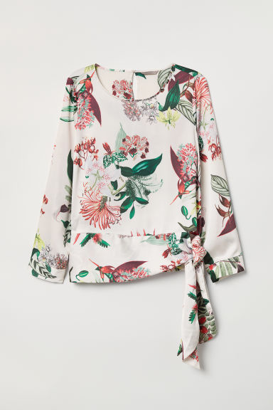 H&M+ Patterned blouse - Cream/Floral - Ladies | H&M