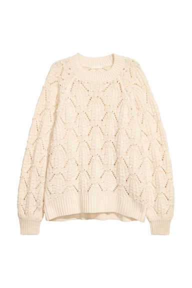 Textured-knit jumper - Cream - Ladies | H&M