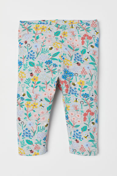 Leggings with a motif - Light grey marl/Floral -  | H&M CN
