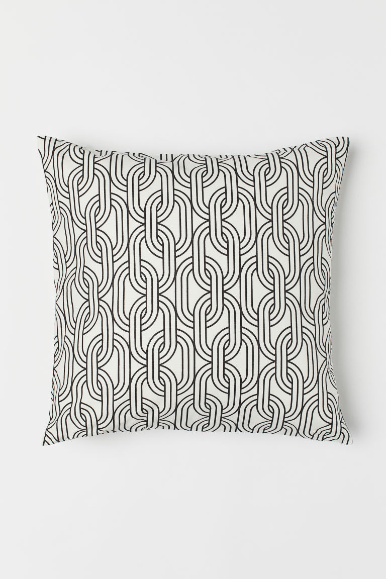 Patterned cotton cushion cover - White/Patterned - Home All | H&M CN