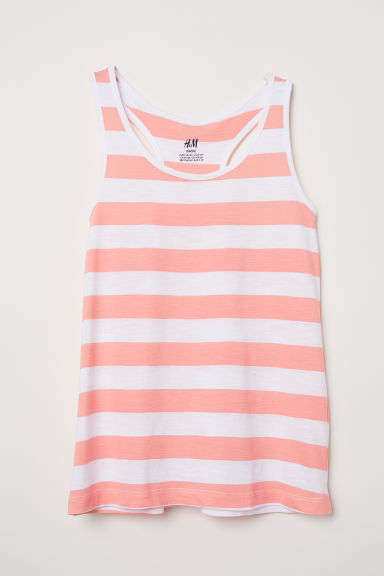 Racer-back jersey vest top - White/Apricot striped - Kids | H&M CN