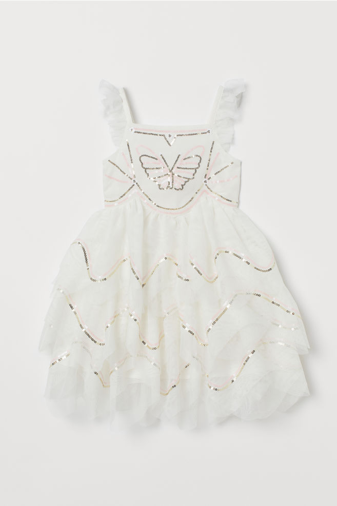 a5b4095ebd ... Tulle Dress with Sequins - White butterfly - Kids