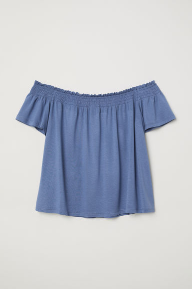 Off-the-shoulder top - Pigeon blue -  | H&M