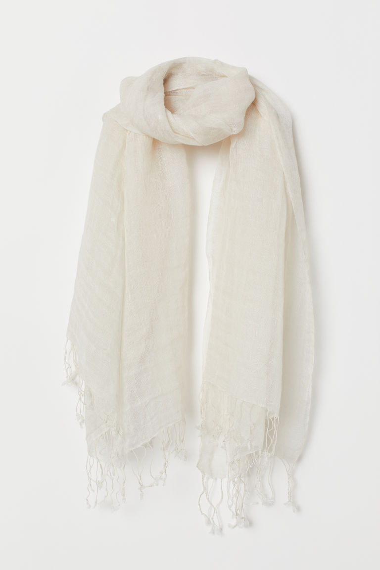Linen scarf - Natural white - Ladies | H&M GB