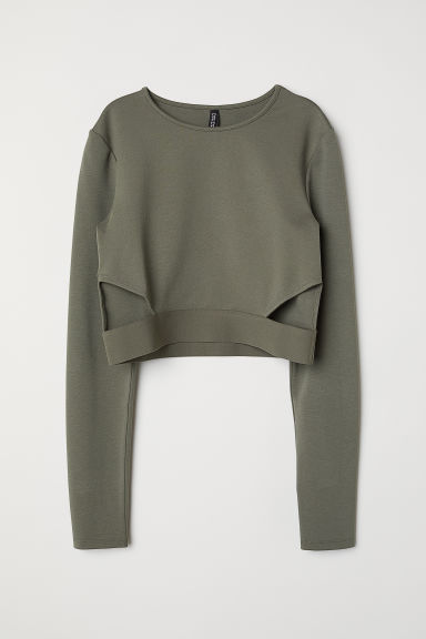 Short jersey top - Khaki green -  | H&M GB