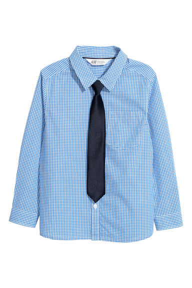 Shirt with a tie/bow tie - Blue checked/Tie -  | H&M