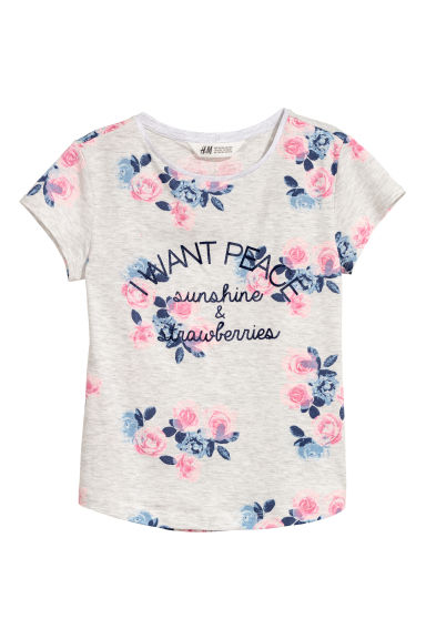Printed jersey top - Light grey/Flowers -  | H&M CN
