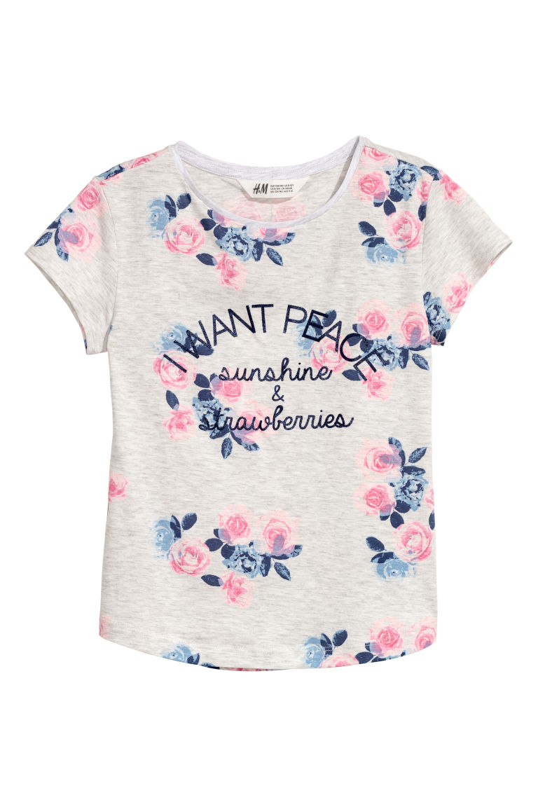 Printed jersey top - Light grey/Flowers -  | H&M