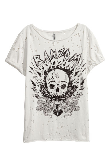 Trashed printed T-shirt - Light mole -  | H&M