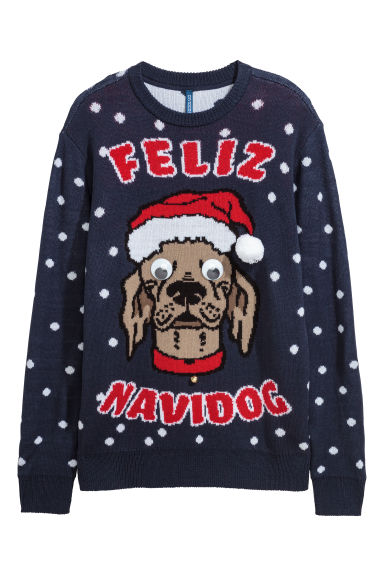 Jacquard-knit Christmas jumper - Dark blue -  | H&M