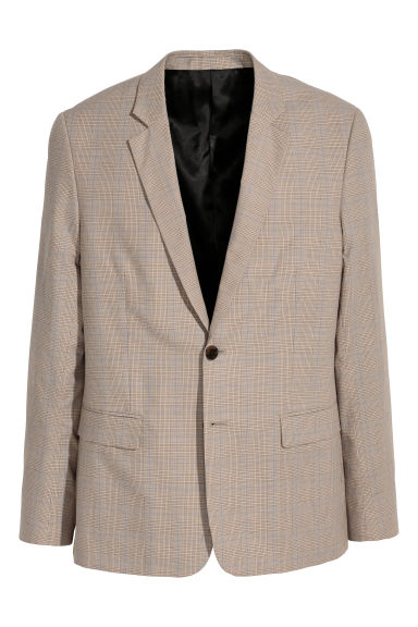 Checked jacket - Beige/Checked - Men | H&M CN