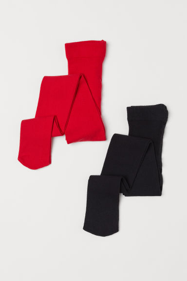 2-pack tights - Red/Black - Kids | H&M CN